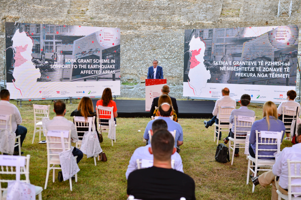 Launching of the RDPA Grant Scheme in support of the earthquake affected areas, in the premises of Amphitheatre of Durres